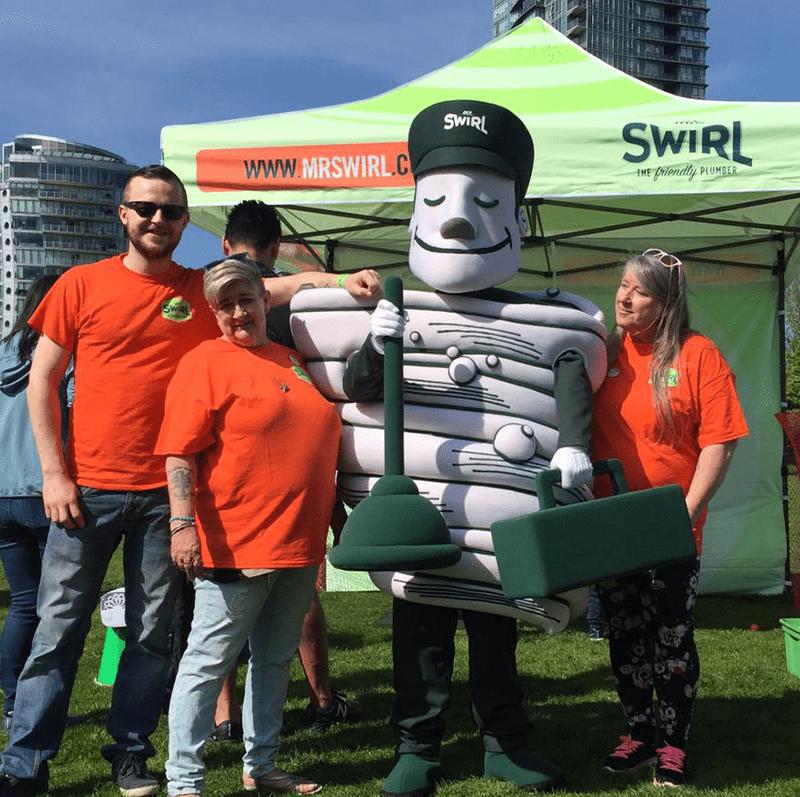 Mr Swirl Mascot in a event