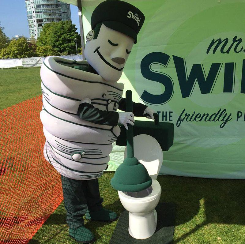 Mr Swirl Mascot plunging a toilet